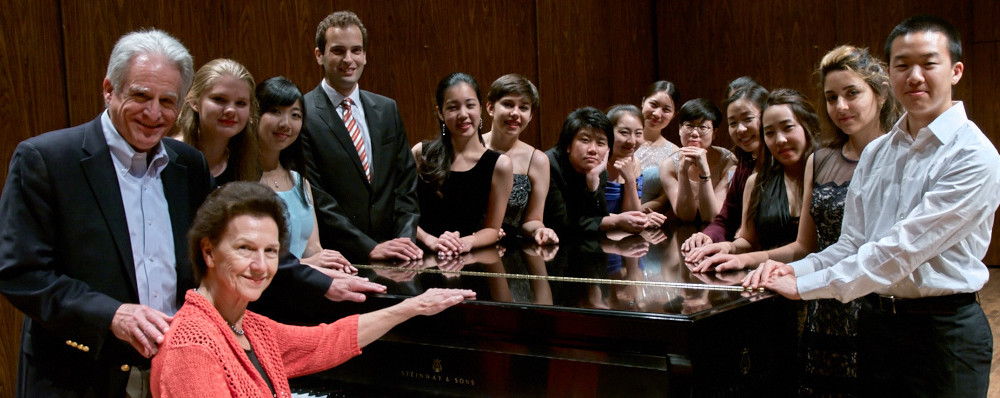 2015 Session 1 students on stage with Co-Directors Robin McCabe and Craig Sheppard after the final Showcase Recital at Meany Hall, University of Washington. ~ Seattle Piano Institute