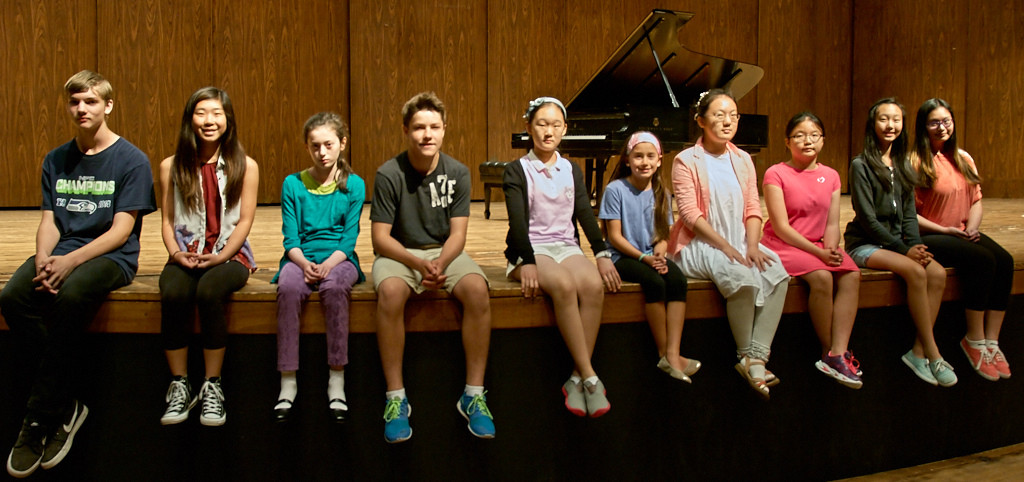 2015 Session 2 students on stage at Meany Hall following the Session 1 final Showcase Recital