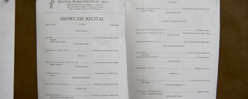 Seattle Piano Institute Showcase Recital